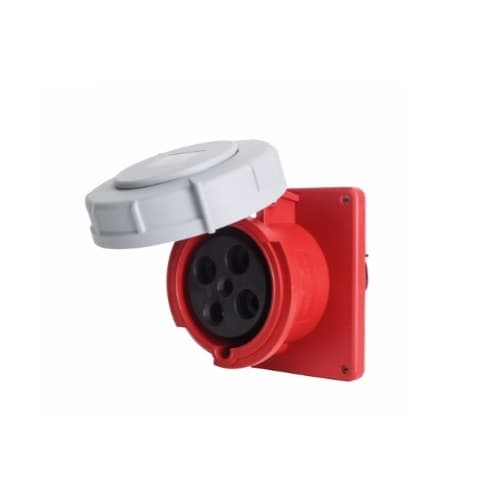 60 Amp Pin and Sleeve Receptacle, 3-Pole, 4-Wire, 480V, Red