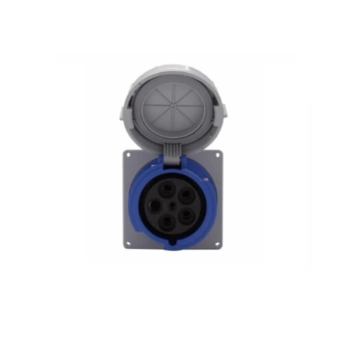 100 Amp Pin and Sleeve Receptacle, 4-Pole, 5-Wire, 208V, Blue