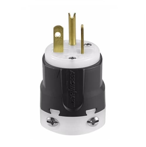 20 Amp Grip Plug, NEMA 5-20P, Nylon, Black/White