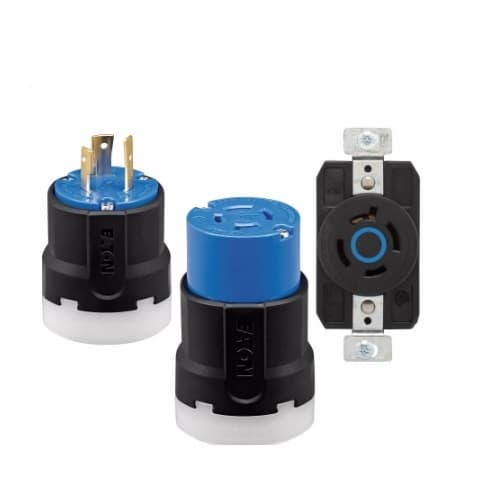 Eaton Wiring 30 Amp Color Coded Locking Flanged Inlet, 2-Pole, 3-Wire, #14-8 AWG, 250V, Blue