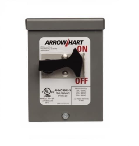 60 Amp Motor Control Toggle Switch, NEMA 3R, 600V, Grey