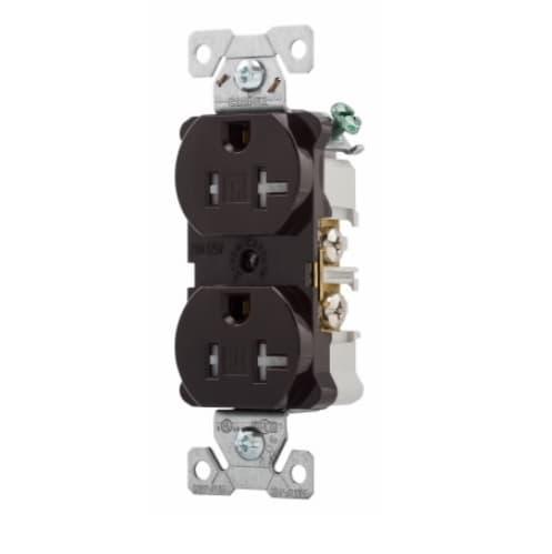 20 Amp Duplex Receptacle /w Terminal Guards, Tamper Resistant, Brown