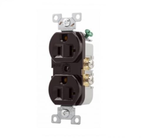 20 Amp Duplex Receptacle, PVC, Commercial, Brown