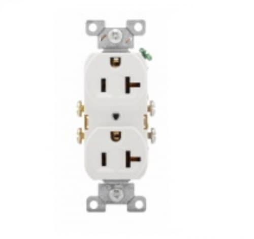 20 Amp Duplex Receptacle, PVC, Commercial, White