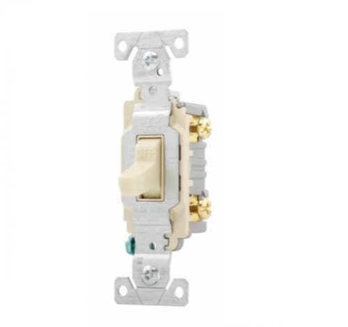 20 Amp Toggle Switch, Commercial, 120/277V, Ivory