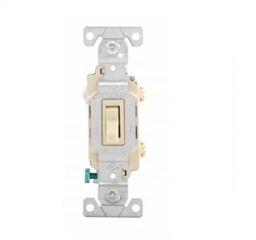 15 Amp Toggle Switch, Single-Pole,  #14-10 AWG, 3-Way, 120/277V, Ivory