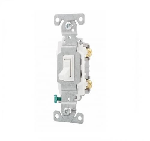 15 Amp Toggle Switch, Single-Pole,  #14-10 AWG, 3-Way, 120/277V, White