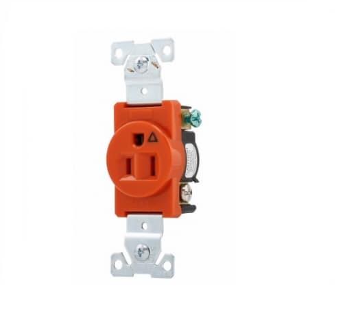 15 Amp Single Receptacle, Isolated Ground, Nylon, Orange