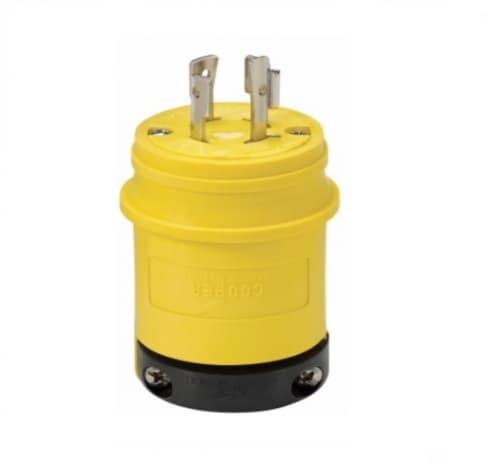 Eaton Wiring 20 Amp Locking Plug, Watertight, NEMA L16-20, 480V, Yellow