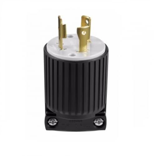 30 Amp Locking Plug, NEMA L6-30, 250V, Black/White