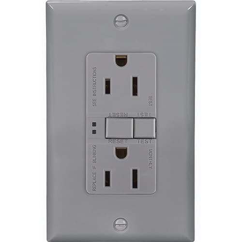 Eaton Wiring 15 Amp Duplex GFCI Receptacle Outlet, Gray