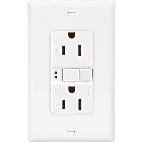 Eaton Wiring 15 Amp Duplex GFCI Receptacle Outlet, White, Pack of 3