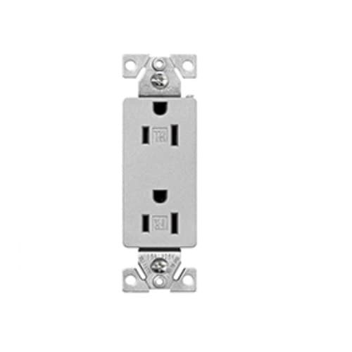 Eaton Wiring 15A Tamper Resistant Receptacle, 125V, Silver Granite Finish