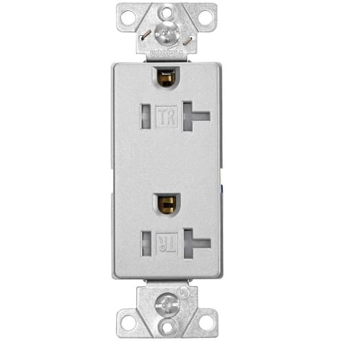 Eaton Wiring 20A 3-Wire Duplex Receptacle, Decora, Tamper Resistant, Silver Granite