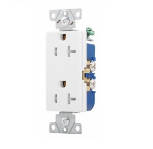 20 Amp Duplex Receptacle, Decora, Tamper Resistant, White