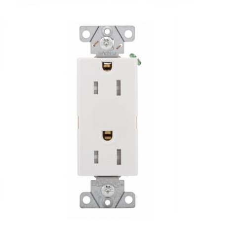 15 Amp Duplex Receptacle, Tamper Resistant, Decora, White