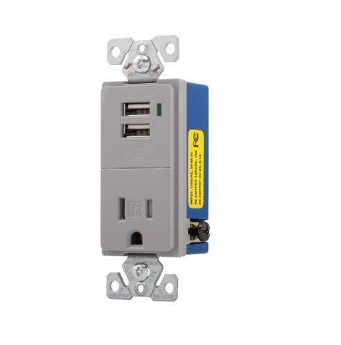 Eaton Wiring 15 Amp USB Charger w/ Receptacle, Tamper Resistant, Gray