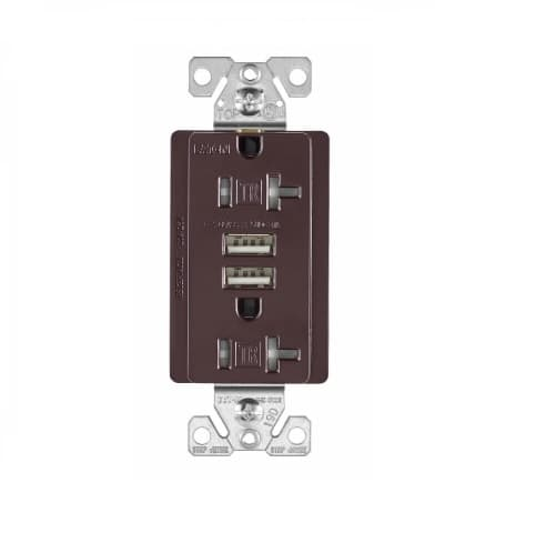 3 Amp USB Charger w/ Receptacle, Combo, Tamper Resistant, Brown
