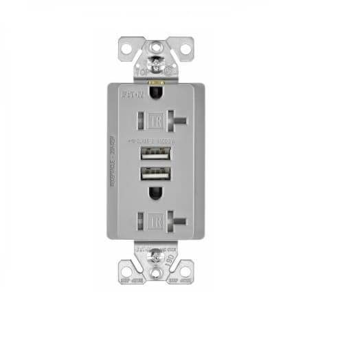3 Amp USB Charger w/ Receptacle, Combo, Tamper Resistant, Grey