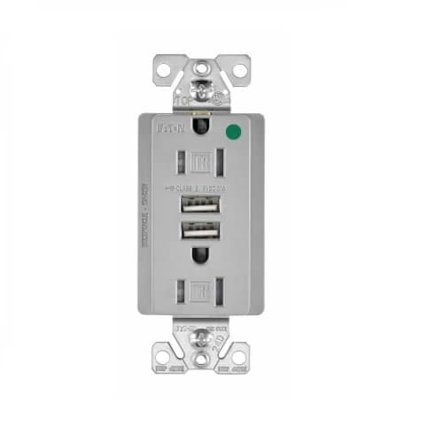 Eaton Wiring 15 Amp USB Charger w/ Duplex Receptacle, Tamper Resistant, Gray