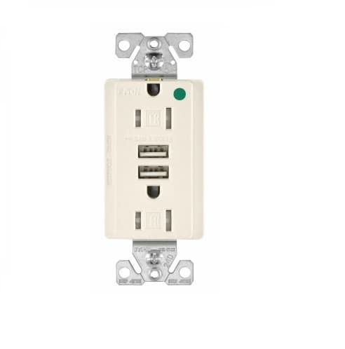 Eaton Wiring 15 Amp USB Charger w/ Duplex Receptacle, Tamper Resistant, Light Almond