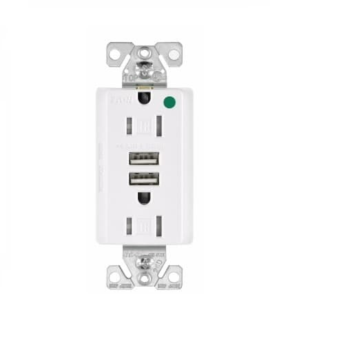 Eaton Wiring 15 Amp USB Charger w/ Duplex Receptacle, Tamper Resistant, White