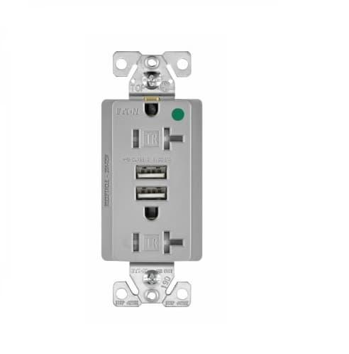 Eaton Wiring 3.1 Amp USB Charger w/ Duplex Receptacle, NEMA 5-20R, Gray