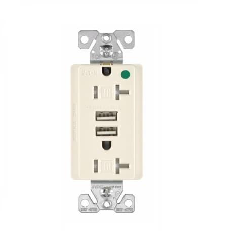 Eaton Wiring 3.1 Amp USB Charger w/ Duplex Receptacle, NEMA 5-20R, Light Almond