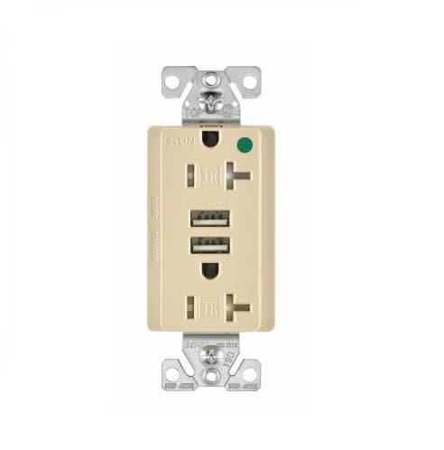 Eaton Wiring 3.1 Amp USB Charger w/ Duplex Receptacle, NEMA 5-20R, Ivory