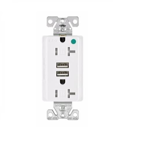 Eaton Wiring 3.1 Amp USB Charger w/ Duplex Receptacle, NEMA 5-20R, White