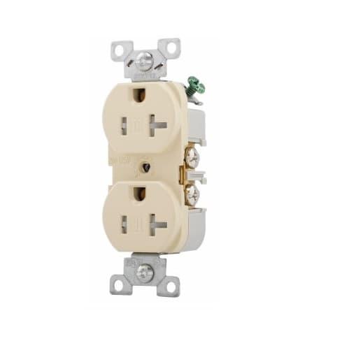 20 Amp Duplex Receptacle, NEMA 5-20R, Flush Mount, Ivory