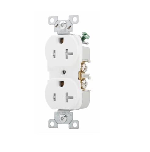 20 Amp Duplex Receptacle, NEMA 5-20R, Flush Mount, White