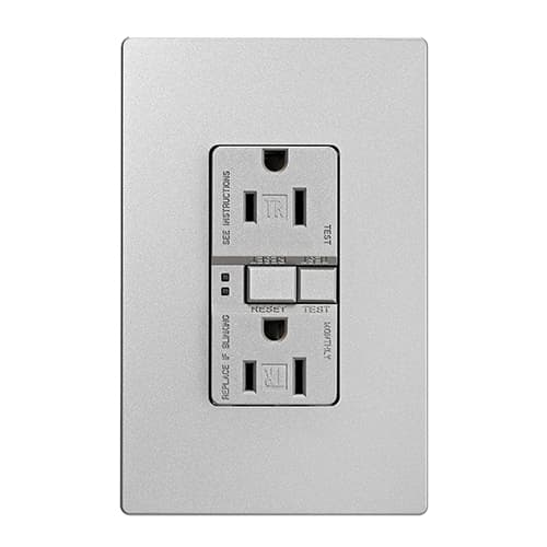 Eaton Wiring 15 Amp Tamper Resistant Duplex GFCI Receptacle Outlet, Silver Granite