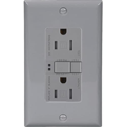20 Amp Tamper Resistant Duplex GFCI Outlet w/ Mid-Size Wallplate, Gray