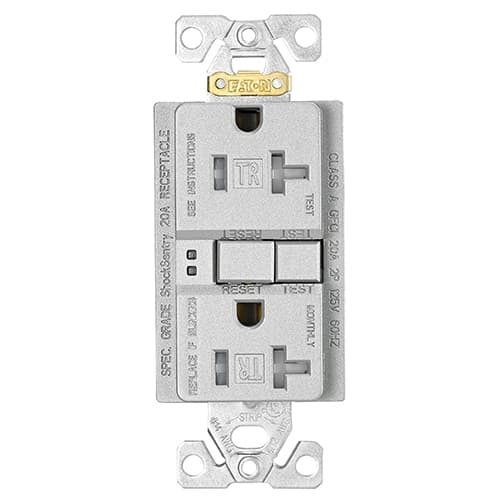 Eaton Wiring 20 Amp Tamper Resistant Duplex GFCI Receptacle Outlet, Silver Granite