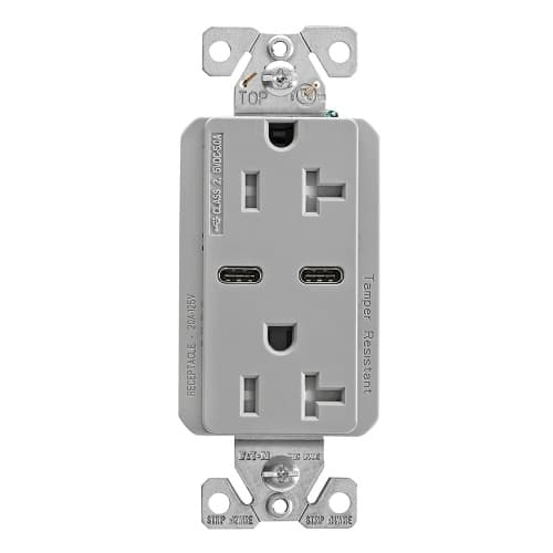 20 Amp Combination USB-C Charger w/ TR Duplex Receptacle, Gray