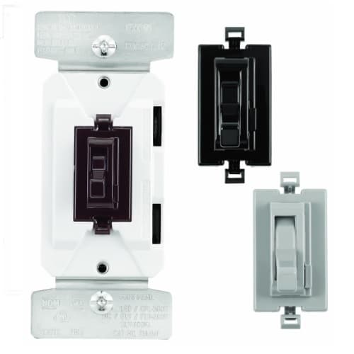 Eaton Wiring 300W Toggle Dimmer Switch, Single Pole, 3-Way, C7 Color Change Kit, Brown, Black, Gray