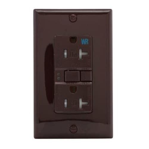 Eaton Wiring 20 Amp Tamper & Weather Resistant GFCI Receptacle Outlet, Brown