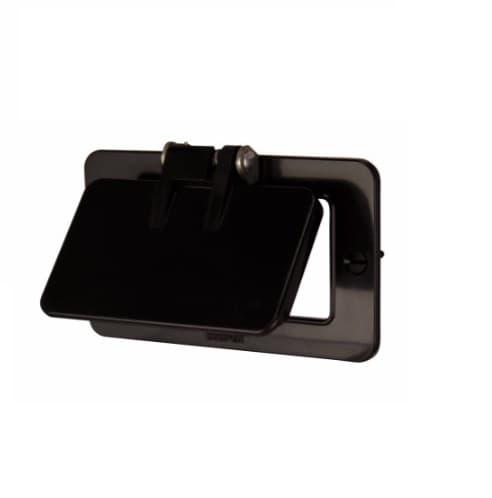 Outlet Box w/ Flip Lid, Decora, Portable, Standard Size, Black