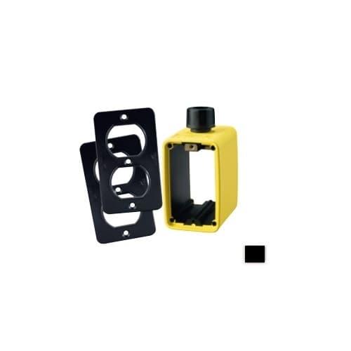 Portable Outlet Box & Duplex Receptacle Cover Plate Kit, Black