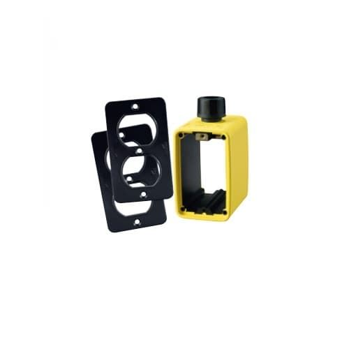 Portable Outlet Box & Duplex Receptacle Cover Plate Kit, Yellow