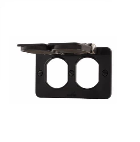 Non-Metallic Outlet Box w/ Lid, Duplex, Portable, Black