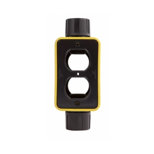 Extra Depth Feed Through Portable Outlet Box & Duplex Receptacle Cover Plate, Yellow
