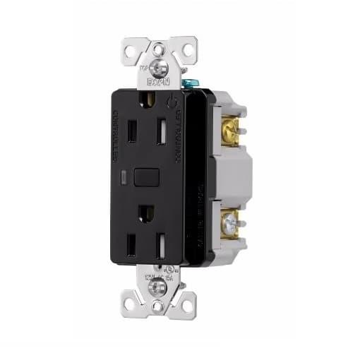15 Amp Wi-Fi Smart TR Duplex Receptacle, 2-Pole, 3-Wire, 120V, Black
