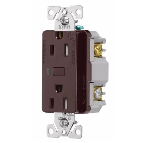 15 Amp Wi-Fi Smart TR Duplex Receptacle, 2-Pole, 3-Wire, 120V, Brown
