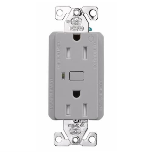 15 Amp Wi-Fi Smart TR Duplex Receptacle, 2-Pole, 3-Wire, 120V, Gray