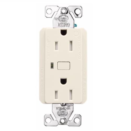 15 Amp Wi-Fi Smart TR Duplex Receptacle, 2-Pole, 3-Wire, 120V, Almond