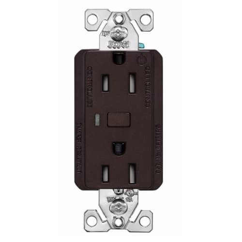 15 Amp Wi-Fi Smart TR Duplex Receptacle, 2-Pole, 3-Wire, 120V, Bronze