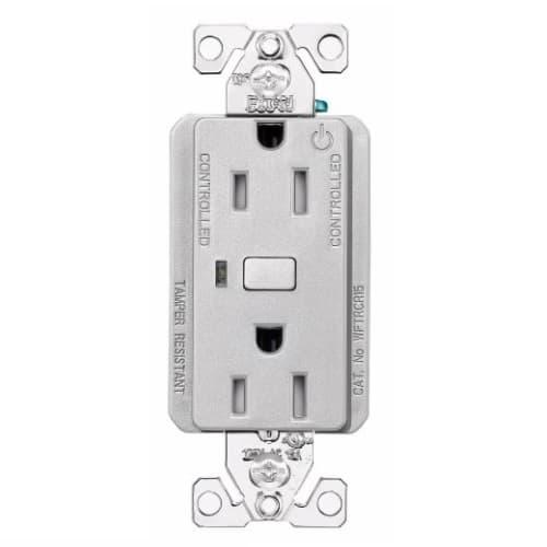 15 Amp Wi-Fi Smart TR Duplex Receptacle, 2-Pole, 3-Wire, 120V, Silver