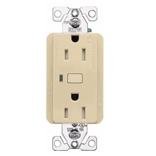 15 Amp Wi-Fi Smart TR Duplex Receptacle, 2-Pole, 3-Wire, 120V, Ivory